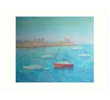 Island Rhodes.Port and  Yachts Art Print
