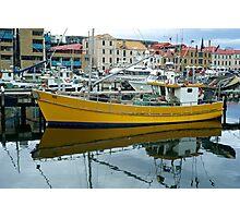 Yello Boat in moorings: Hobart Tasmania Photographic Print
