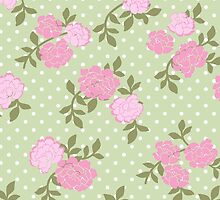 Shabby Chic Polka Dots, Roses - Pink Green  by sitnica