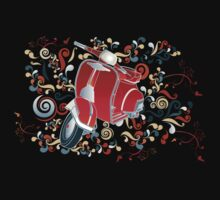Retro illustration with red scooter, colorful swirls and floral elements Kids Clothes