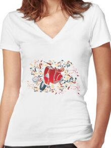 Retro illustration with red scooter, colorful swirls and floral elements Women's Fitted V-Neck T-Shirt