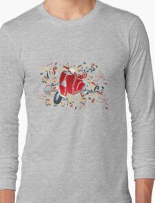 Retro illustration with red scooter, colorful swirls and floral elements Long Sleeve T-Shirt