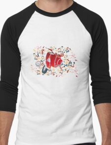 Retro illustration with red scooter, colorful swirls and floral elements Men's Baseball ¾ T-Shirt