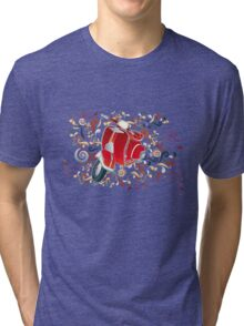 Retro illustration with red scooter, colorful swirls and floral elements Tri-blend T-Shirt
