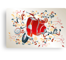 Retro illustration with red scooter, colorful swirls and floral elements Canvas Print