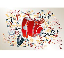 Retro illustration with red scooter, colorful swirls and floral elements Photographic Print