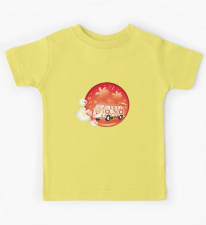 Retro bus with floral patterns  Kids Tee