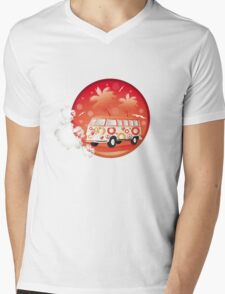 Retro bus with floral patterns  Mens V-Neck T-Shirt