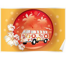 Retro bus with floral patterns  Poster