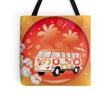 Retro bus with floral patterns  Tote Bag