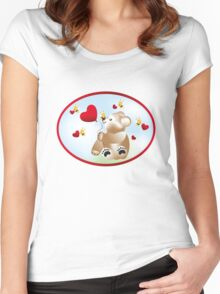 Teddy with hearts and bees  Women's Fitted Scoop T-Shirt