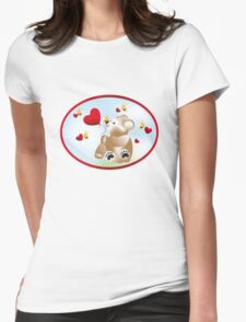 Teddy with hearts and bees  Womens Fitted T-Shirt
