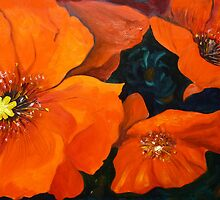Red Poppies Flower Painting Oil on Canvas by Ekaterina Chernova