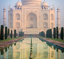 Taj Mahal Dawn Reflection by Inge Johnsson