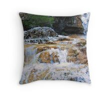 Water flowing over Rocks Throw Pillow
