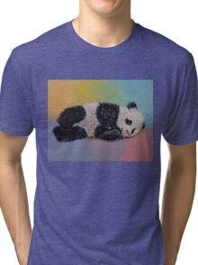 Baby Panda Rainbow Tri-blend T-Shirt