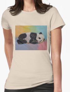 Baby Panda Rainbow Womens Fitted T-Shirt
