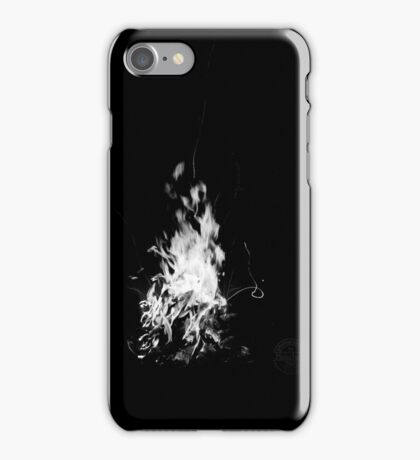 Flames of a campfire - black and white iPhone Case/Skin
