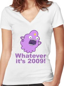 lumpy space princess 2009 Women's Fitted V-Neck T-Shirt