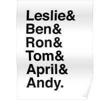 Leslie & Ben & Ron & Tom & April & Andy. (Parks & Rec) Poster