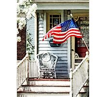 Porch With Flag and Wicker Chair Photographic Print