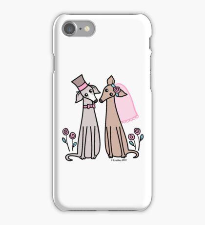 Greyhound Wedding Couple - pink iPhone Case/Skin