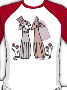 Greyhound Wedding Couple - pink T-Shirt