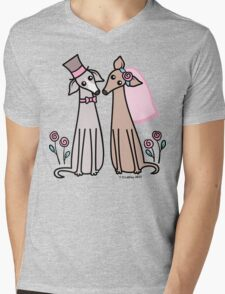 Greyhound Wedding Couple - pink Mens V-Neck T-Shirt
