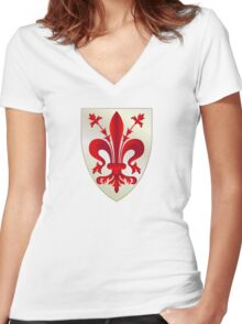 Coat of Arms of Republic of Florence, 1115–1532 Women's Fitted V-Neck T-Shirt