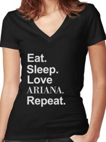 Eat. Sleep. Love Ariana. Repeat. -- White Women's Fitted V-Neck T-Shirt