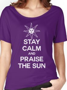 Stay Calm and Praise the Sun! (dark colors) Women's Relaxed Fit T-Shirt