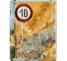 Traffic sign on the wall iPad Case/Skin