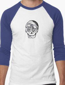 WnRn - White Black Cafe Skull Men's Baseball ¾ T-Shirt