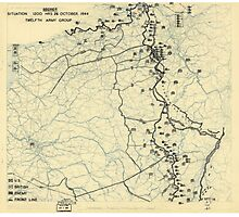 October 24 1944 World War II HQ Twelfth Army Group situation map Photographic Print