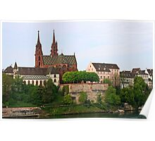 Rhine river by the Basel Minster in Switzerland  Poster