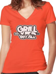 Grill 'em all Women's Fitted V-Neck T-Shirt