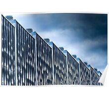 Blue march of modern architecture Poster