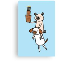 Two Dogs with Cake Canvas Print