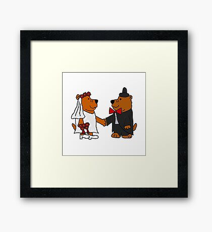 Funny Cool Bride and Groom Brown Bear Art Framed Print
