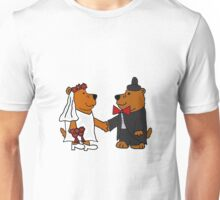 Funny Cool Bride and Groom Brown Bear Art Unisex T-Shirt