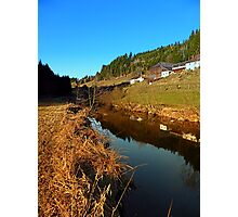 A river, the valley and traditional farmland | waterscape photography Photographic Print