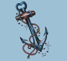 Blues Anchor Tattoo Art One Piece - Short Sleeve