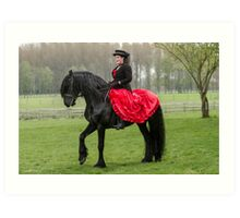 Friesian Horse and Rider Art Print