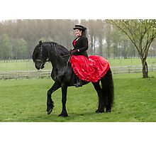 Friesian Horse and Rider Photographic Print