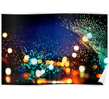 Raindrops and Evening Lights Poster