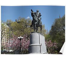 George Washington Statue, Spring Colors, Union Square, New York City Poster
