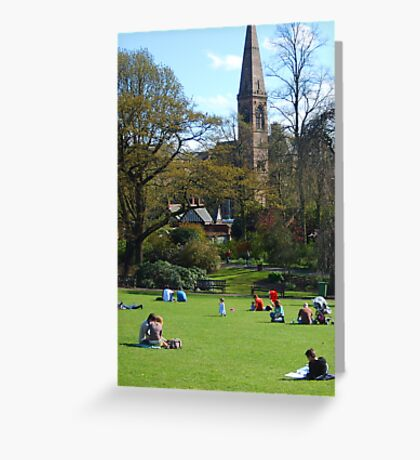 A view of Oran Mor from the Botanic Gardens Greeting Card