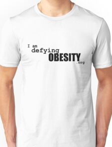 I am defying obesity (black print) Unisex T-Shirt