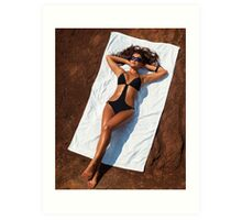 Young sexy woman in swimsuit sunbathing art photo print Art Print