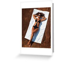 Young sexy woman in swimsuit sunbathing art photo print Greeting Card